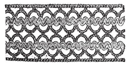 insertion: Insertion in waved braid, vintage engraved illustration.