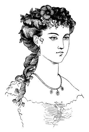 coiffure: Evening coiffure, vintage engraved illustration. Illustration