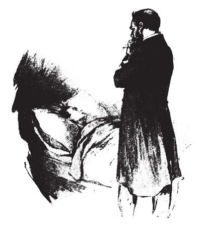 медик: Врач у постели больного, старинные гравированные иллюстрации.