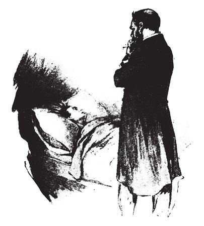 bedside: The physician at the bedside of the sick, vintage engraved illustration. Illustration