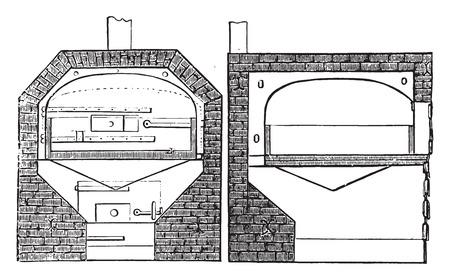 furnace: Plan and section of a furnace, vintage engraved illustration.