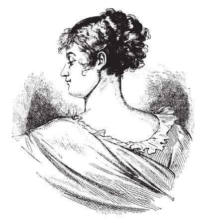 famous painting: Recamier, vintage engraved illustration.