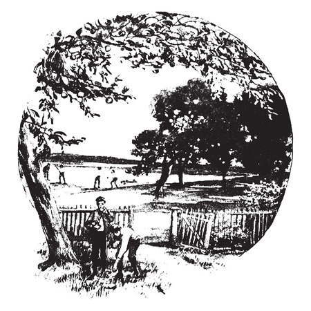 ate: As boys we ate apples to the full, vintage engraved illustration. Illustration