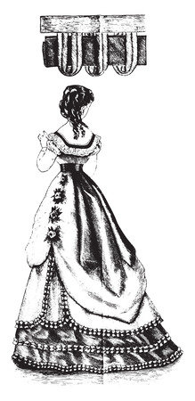 velvet dress: Rouleau and velvet trimming, vintage engraved illustration. Illustration