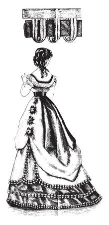 Rouleau and velvet trimming, vintage engraved illustration. Illustration