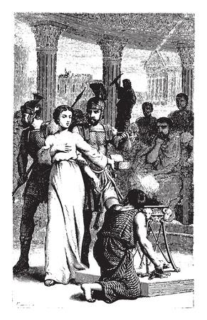 martyr: Blandine refuses to sacrifice to idols, vintage engraved illustration.