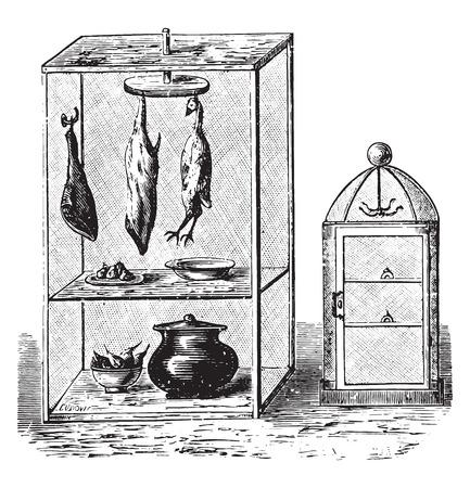 Pantry, vintage engraved illustration.