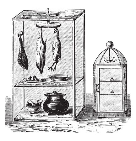 buttery: Pantry, vintage engraved illustration.