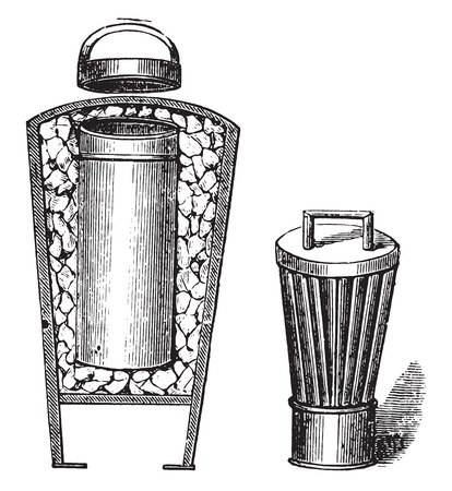 cold storage: Ice cream makers ice for office, vintage engraved illustration. Illustration