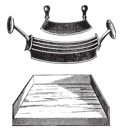 Chopper and ironing mince, vintage engraved illustration.