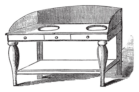 handbasin: Wash hand stand, vintage engraved illustration.