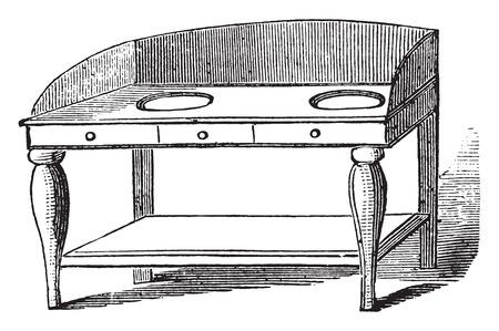 wash hand stand: Wash hand stand, vintage engraved illustration.
