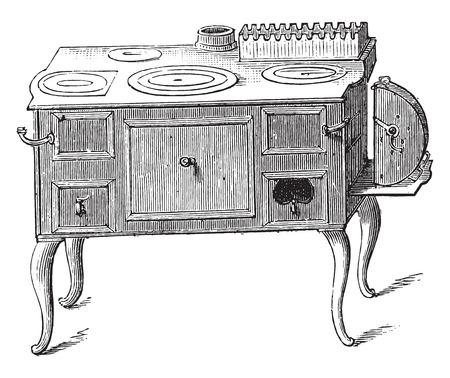 Economic stove, vintage engraved illustration. 일러스트