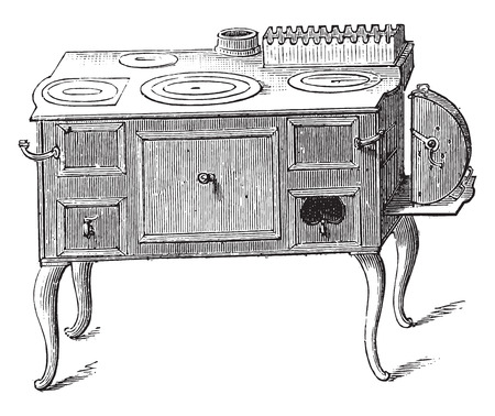 Economic stove, vintage engraved illustration. Stock Illustratie