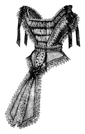 Bertha with Basque, vintage engraved illustration.