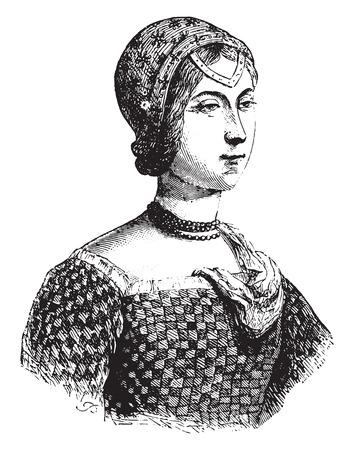 implies: Portrait implies Laure Noves, called the beautiful Laure, vintage engraved illustration.