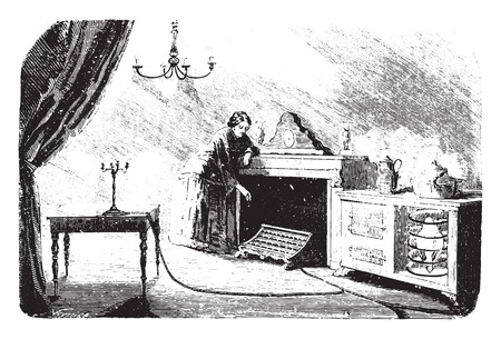Lighting and gas heating, vintage engraved illustration.