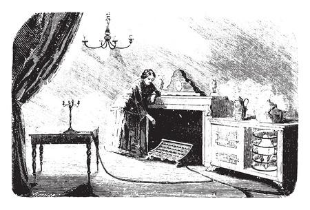 gas furnace: Lighting and gas heating, vintage engraved illustration.