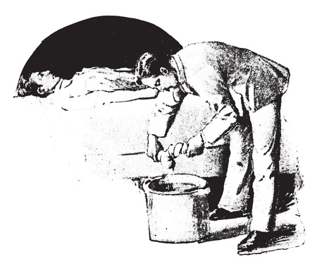 boiling water: Fomentation, wringing second cloth from boiling water without burning hands, vintage engraved illustration.