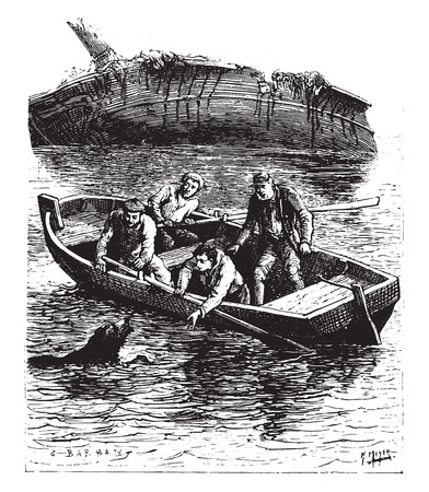 The animal swam painfully toward the boat, vintage engraved illustration.