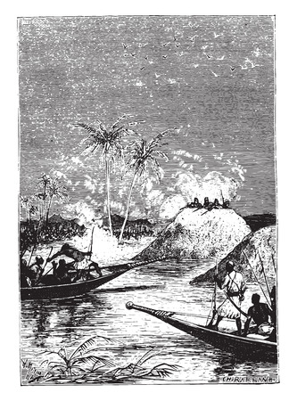 all in one: All fired on one of the boats, vintage engraved illustration. Illustration