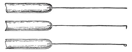 Platinum inoculating needles mounted in glass rods, vintage engraved illustration. Иллюстрация