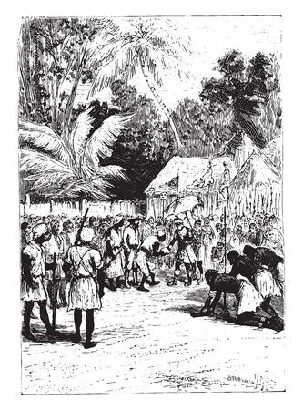 stepped: Then, Alves, he stepped in turn, vintage engraved illustration.
