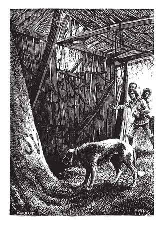 dingo: A man died in this hut, vintage engraved illustration.