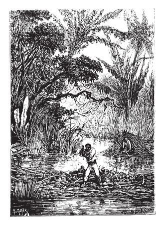 dam: Two hours after the dam had broken, vintage engraved illustration. Illustration