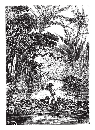 had: Two hours after the dam had broken, vintage engraved illustration. Illustration