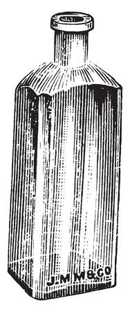 botella: Blake botella utilizada para placas de botellas, ilustraci�n de la vendimia grabado. Vectores