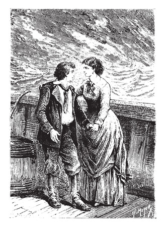 dick: Dick, my dear child, my captain! said Mrs. Weldon, vintage engraved illustration. Illustration