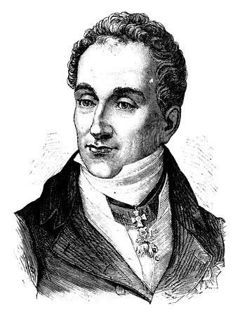 statesman: Metternich, vintage engraved illustration. History of France – 1885.
