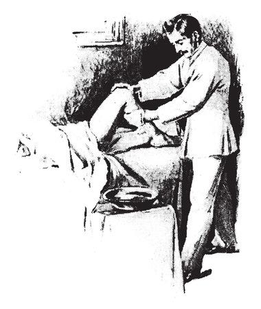 masajes relajacion: Fricción fría a la pierna, que muestra la protección de la cama y el método de procedimiento, ilustración de la vendimia grabado. Vectores