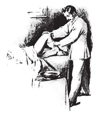 Cold friction to leg, showing protection of bed and method of procedure, vintage engraved illustration. Illustration