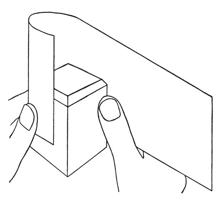 paraffin: Method of applying paper to block, vintage engraved illustration.