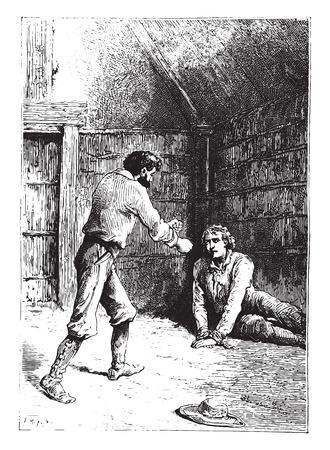 cried: Wretch! cried the Portuguese, vintage engraved illustration.