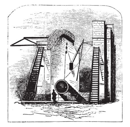The great rosse telescope, vintage engraved illustration.