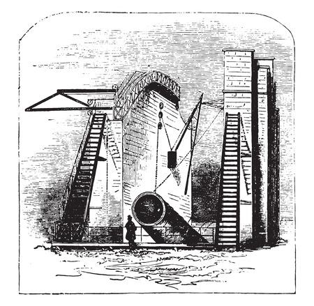 The great rosse telescope, vintage engraved illustration.