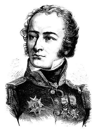 statesman: General Foy, vintage engraved illustration. History of France – 1885.