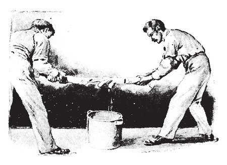 boiling water: Method of wringing blanket from boiling water by keeping ends dry, vintage engraved illustration.