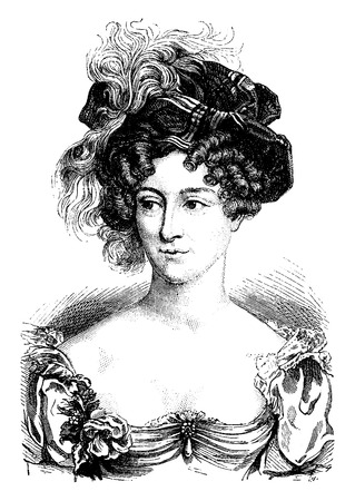 hairdos: Duchess of Berry, vintage engraved illustration. History of France – 1885.