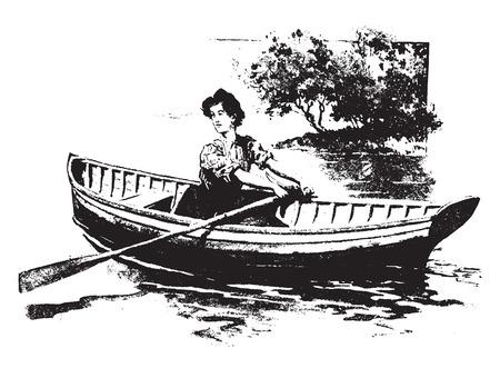 persona viajando: El remo es un ejercicio excelente, ilustración de la vendimia grabado.