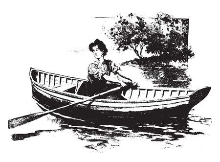 boats: Rowing is an excellent exercise, vintage engraved illustration.