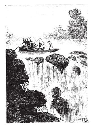 sculling: And sculling shattered by a bullet shattered, vintage engraved illustration.