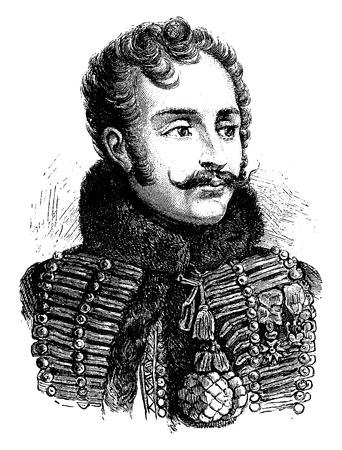 adventurer: Lasalle, vintage engraved illustration. History of France – 1885.