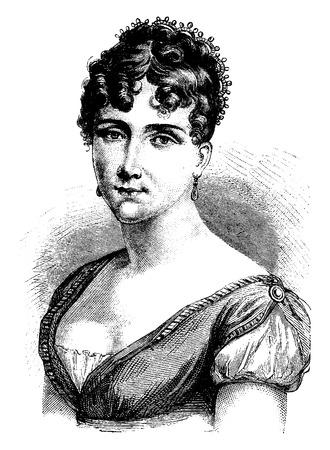 Hortense de Beauharnais, vintage illustrazione inciso. Storia della Francia - 1885.