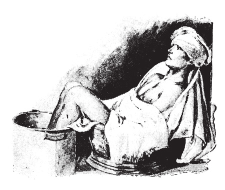 compress: Sitz and foot bath combined, with cold compress on head, vintage engraved illustration.