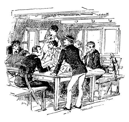 aspirant: A job aspirants, vintage engraved illustration. Journal des Voyage, Travel Journal, (1880-81).