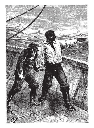 sailing: You have seen the earth? .. Said the novice, vintage engraved illustration.